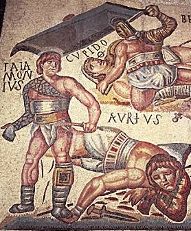 combats gladiateurs mosaique