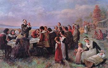 Peinture du premier Thanksgiving par Jennie Brownscombe Pilgrim Hall