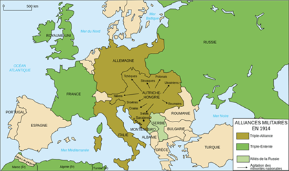 carte Europe alliances 1914